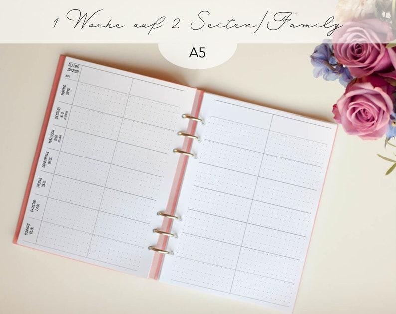 Kalendereinlagen 1W/2S Familienkalender A5 Dotted/ image 0