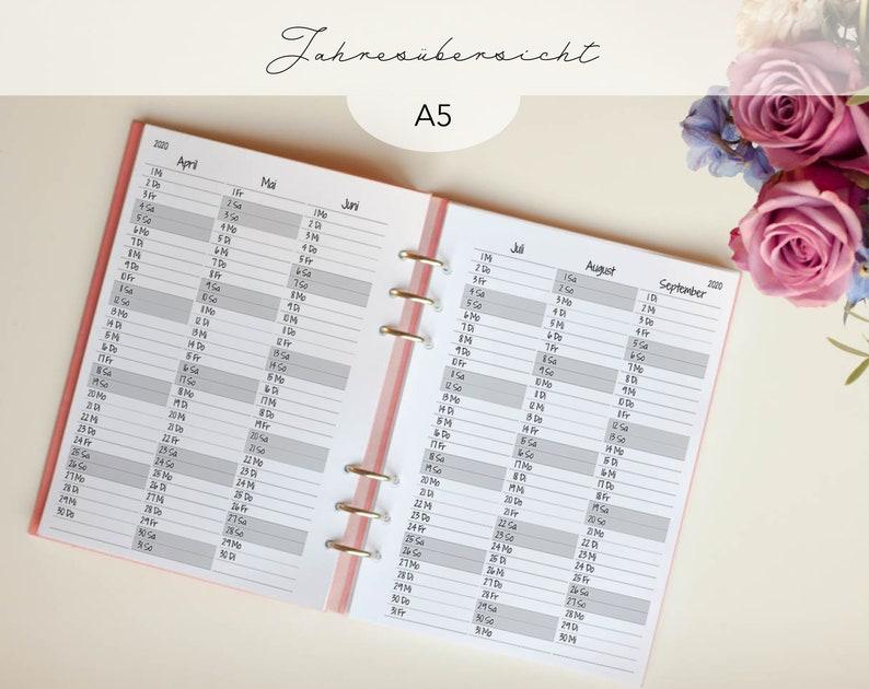 Kalendereinlagen Jahresübersicht A5 Zuckerschnee / image 0