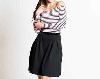 Mauve black striped bardot skater dress size 12