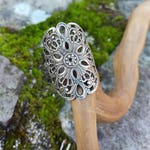 Filigree Ring with Sterling Silver and silver-plated Brass Stamping, Medieval Steampunk, Retro Romantic Lace Boho