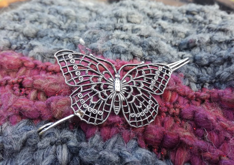 Wedding Butterfly Accessory Winged Insect Jewel Accessory for Hat and Scarf Butterfly Safety Pin Silver Plated Brass