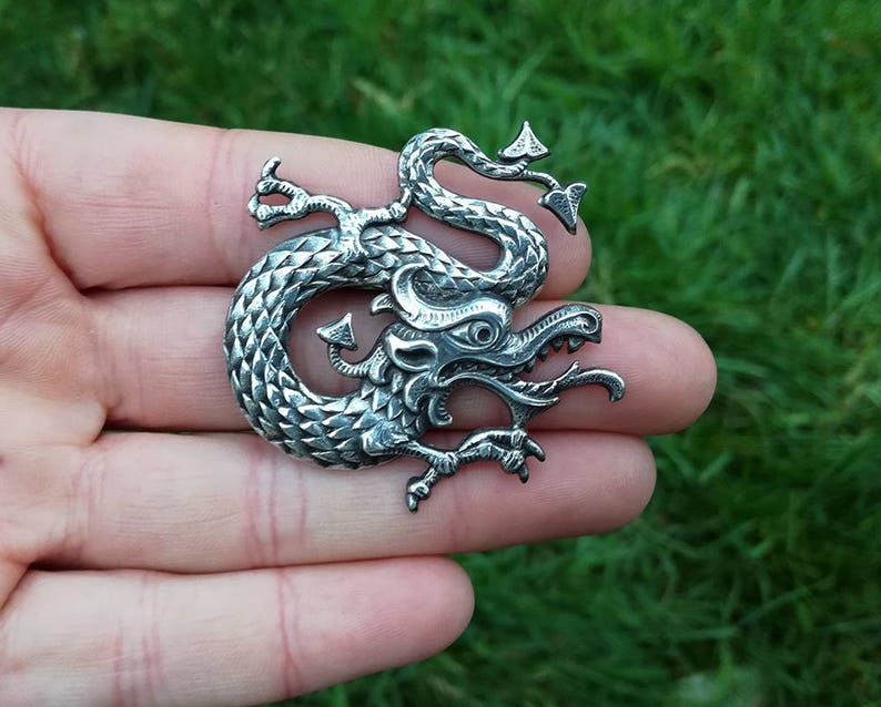Chinese Dragon Brooch Silver-plated or Gilded Brass Chinese New Year Asian Golden Dragon Wedding Brooch Lapel Pin Asian Dragon Brooch