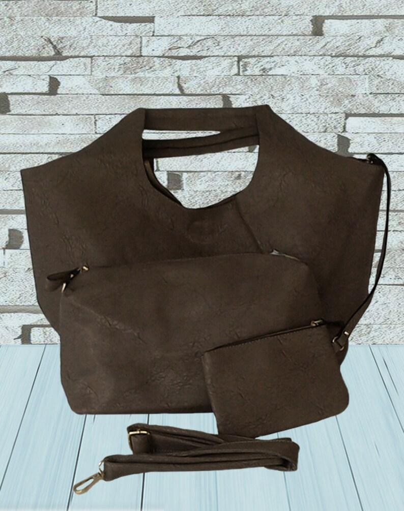 Gray shoulder bag Shoulder tote Large tote bag with a clutch Bag for work Vegan leather bag Eco friendly tote Minimalist boho bag