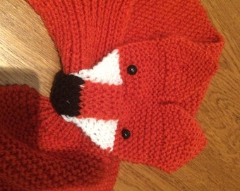 Knitted Fox Scarf Etsy