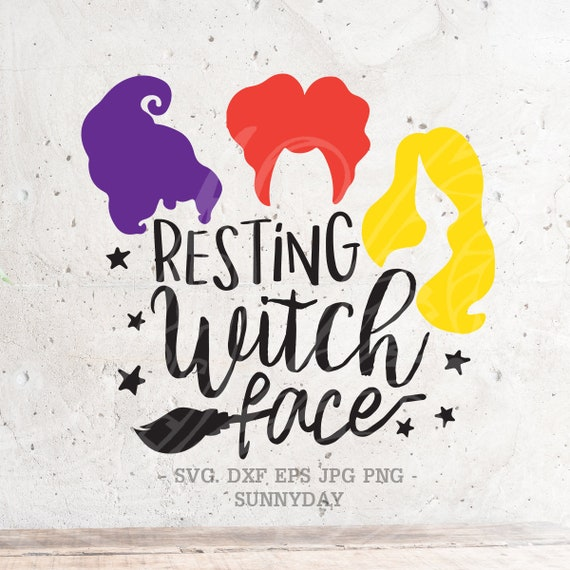 Resting Witch Face Svghocus Pocus Svg File Dxf Silhouette Etsy