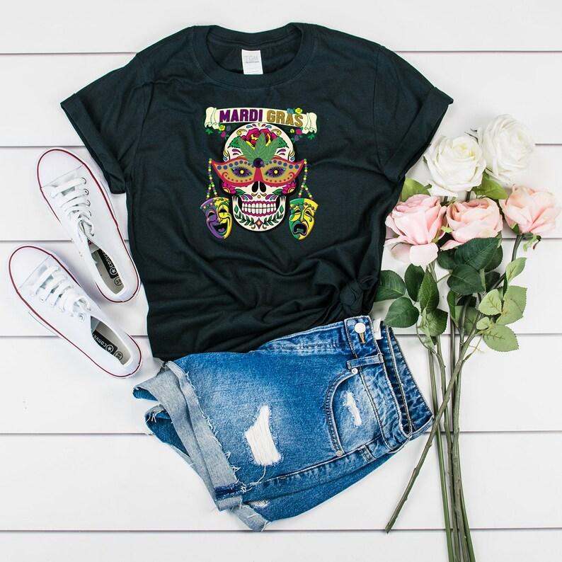 e0f888850 Mardi Gras Skull T-Shirt Skull Wearing Comedy Tragedy Masks   Etsy