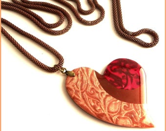 long necklace with black heart polymer clay pendant necklace peach caramel fushia
