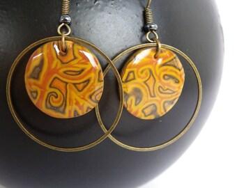 Polymer clay round ochre mustard yellow resin bronze ring, fancy earrings