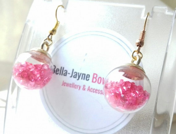 ** Shiny purple bauble earrings hand made stocking filler **