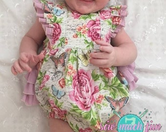 Baby Girl Flower Romper, Toddler Flower Romper, Girl Bubble Romper, Spring Bubble Romper, Toddler Bubble Romper, Baby Girl Bubble Romper