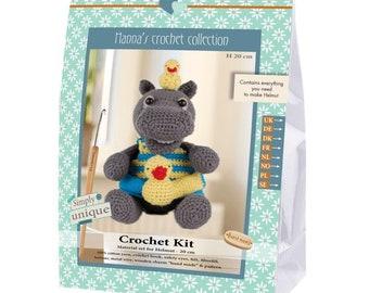 Crochet Kit by Go Handmade DIY Helmut Hippo Amigurumi Complete Kit