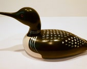 Hand Carved Wooden Common Loon Duck Decoy, Glass Eyes, Signed Jim Harkness, Stayner, Ontario, Hand Painted