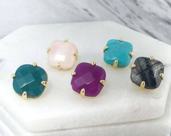 Gold Plated Stone Earrings!
