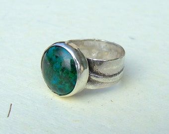 Chrysocolla silver ring, size 62