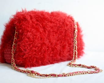 Red Bag, Handmade bag, gift for mother, Small Crossbody Red Bag, Vintage Bag, Woman Bag, Knitted Bag, Crossbody bag, Bag-clutch, theater bag