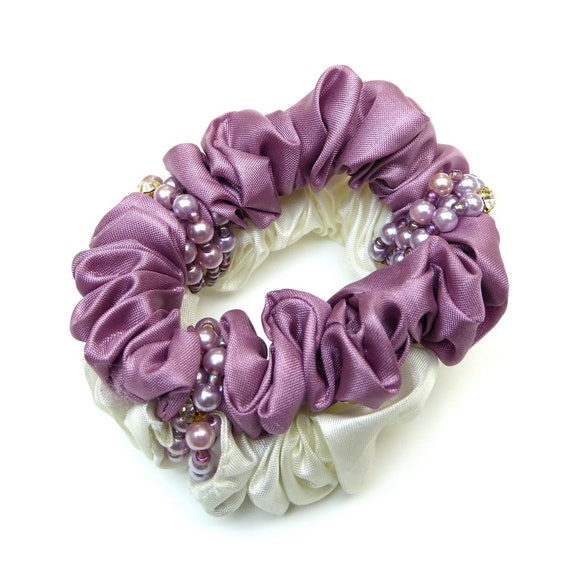 Elastic hair darling fabric and pearls Rougecaramel