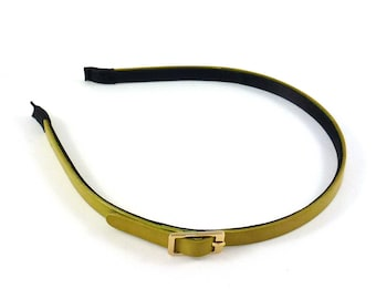 Thin headband with bow - mustard green leather