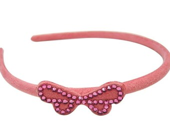 Suede tie with Rhinestone headband - pink