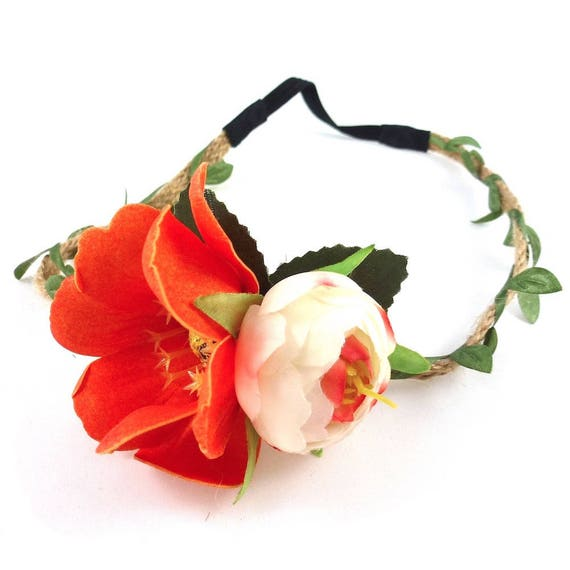 headband couronne de fleurs mariage orange etsy. Black Bedroom Furniture Sets. Home Design Ideas