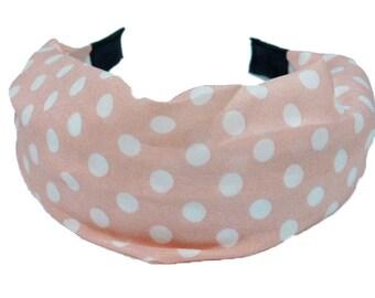 Shake head/headband/headband pattern large polka dots - pink