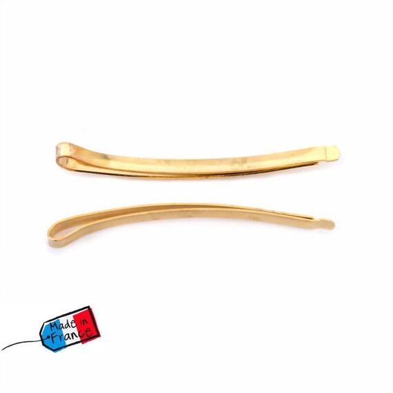 6 hair bars lisette gold metal Made in France 6cm Rougecaramel