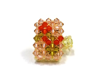 Ring Crystal Swarovski and pearls elastic one size - orange/yellow