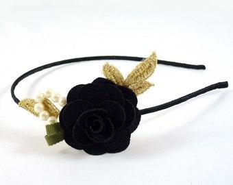 Greenhouse flower Camellia - black head/headband