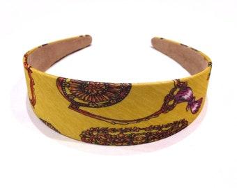 Wide headband printed - yellow