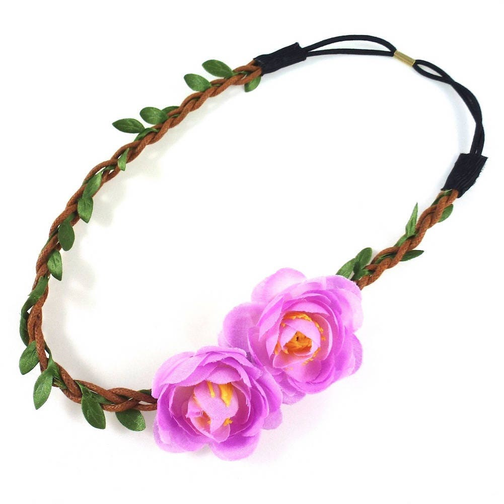 headband couronne de fleurs mariage mauve etsy. Black Bedroom Furniture Sets. Home Design Ideas