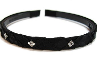 Fabric headband with Rhinestones - black