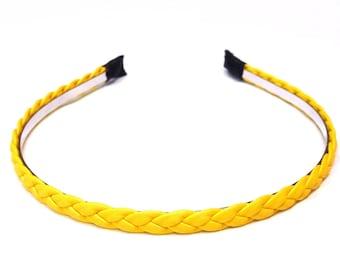-Yellow braided headband