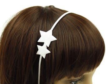 Star headband hair accessory - snow white glitter.