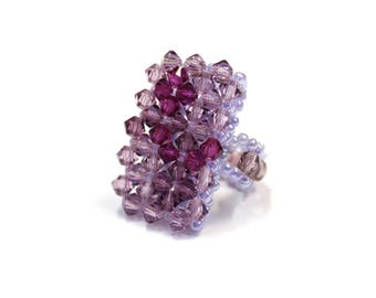 Swarovski Crystal and Pearl ring size unique elastic - purple