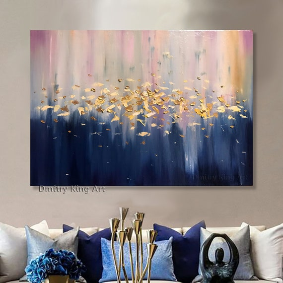 Large Abstract Golden Oil Painting Navy Blue White Colors Modern Art Gold Leaf Textured Art Vibrant Canvas Wall Art Luxurious Home Decor