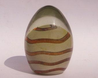 Mdina sandy earthtones ovoid paperweight,signed Maltese glass, Michael Harris design