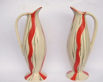 Pair of 1950s Kensington Ware tall decorative jugs, black, red and grey jazzy design, Staffordshire ceramics
