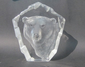 Large Mats Jonasson polar bear lead crystal sculpture, 3361 8.75 inches height, Maleras Glasbruk wildlife,Swedish glass