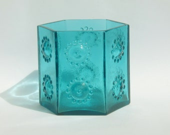 Frank Thrower Dartington FT108 hexagonal glass vase, Kingfisher Blue nipple vase,circa 1968 rare British glass
