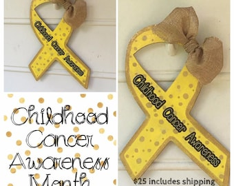Childhood Cancer Awareness Wooden Painted Ribbon