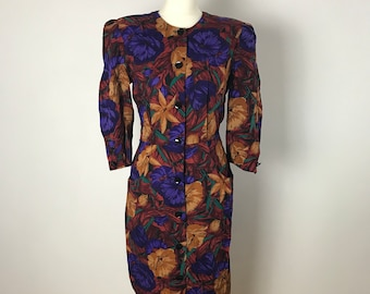 Stunning Vintage 1980's Floral Day Dress Size 12
