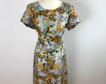 Original Vintage 1960's Psychedelic Print Tunic Dress Size 16-18