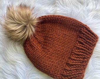 Knit brown hat with Pom pom, knit hat with faux fur pom pom , knit beanie