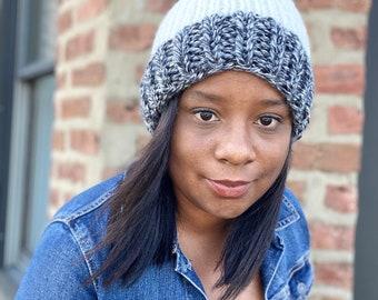 Black knit hat and cream with pom pom , knit hat with faux fur pom pom , knit beanie