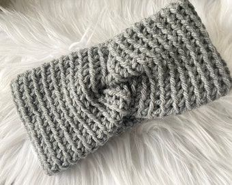 Grey Ear warmer, twist crochet ear warmer, headband