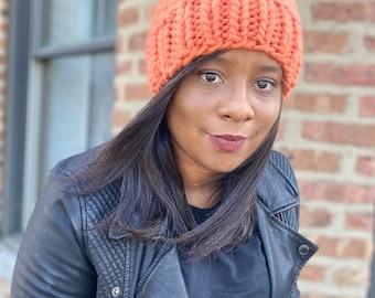 Orange Chunky Knit hat, chunky knit beanie with faux fur Pom Pom,  Wool slouchy knit hat