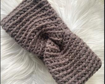 Gray Ear warmer, twist crochet ear warmer, chunky rose Earwarmer, headband