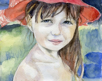 Watercolor portrait from photo