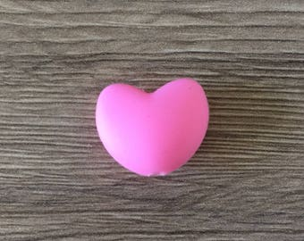 ROSE silicone heart bead-