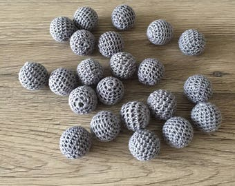 Crochet beads 20mm - grey wood