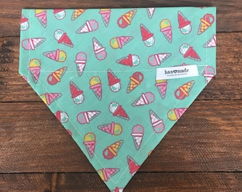 Dog Bandana, Slip on Dog Bandana, Ice Cream Bandana, Green Bandana, Denim Style Bandana, Dog Accessories, Collar Bandana, Slip on Bandana